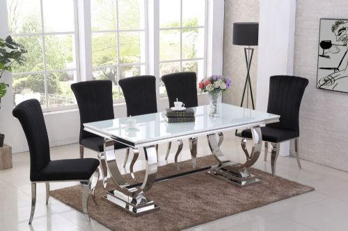 GA Romano White  Dining Table &  4,  6, 8 Black  Chairs